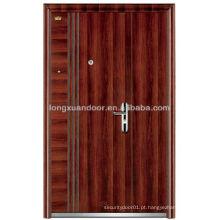 Porta de segurança de aço inoxidável de duas folhas desigual, portas de aço de entrada de segurança exterior