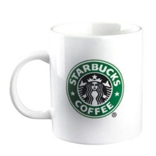 Taza de café de cerámica blanca de Starbucks