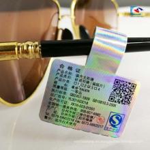 Pegatinas adhesivas de fijación de precios de joyería de cola de gafas de sol de parte láser