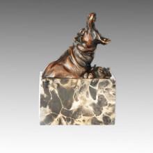 Tier Bronze Skulptur Flusspferd / Flusspferd Deko Messing Statue Tpal-276