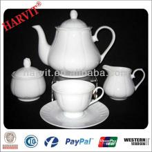 Té de porcelana de Royal Grace Tazas de café al por mayor Tazón de té taza y platillo / 9 Pcs Set de té blanco Precio barato / Tazas de té de uso diario
