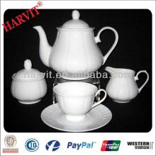 Royal Grace Ensembles de thé en porcelaine Cafetière en gros Tasse à thé et soucoupe / Ensemble de thé blanc 9 pièces Prix à bas prix / Ustensiles de thé à usage quotidien