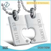 Nunca se descolora el collar coreano de titanio de los pares del corazón que empareja