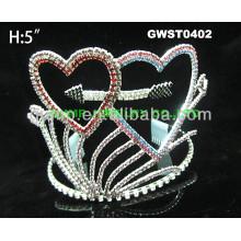 Corona de la corona del diamante del rhinestone del corazón de la tarjeta del día de San Valentín -GWST0402