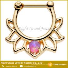 Gold Titan Chirurgenstahl Rosa Synthetischer Opal Lotus Septum Clicker Ring