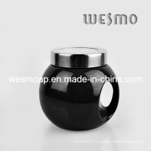 Черная керамическая кухонная канистра для кофе