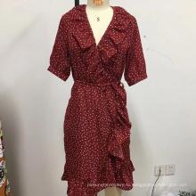 Женское свободное кружевное платье с поясом