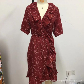 women point loose lace dress with belt