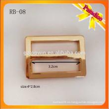 RB08 Precio fijo de fábrica de la fábrica de oro Buckles ajustables, corredera deslizante para el bolso de la escuela