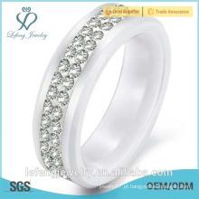 Anel de diamante, presente de Natal, jóia nova da forma anel de cerâmica preta, anel de banda de casamento com pedras