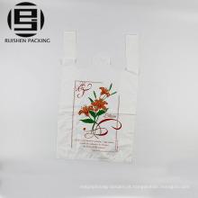 Plástico branco impresso sacolas de compras t-shirt
