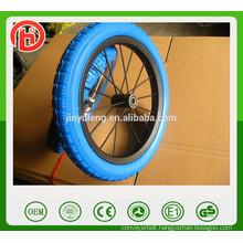 Avoid aeration puncture 12'' PU solid foam wheel , matel rim Children's balanced bike wheel ,baby wheel
