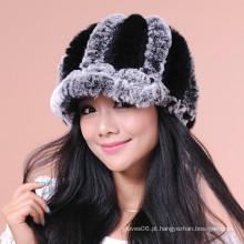 Mulheres inverno malha pele chapéus / Caps