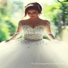 2017 Vestido de boda brillante rebordeado pesado pesado del amor sin tirantes de la muestra verdadera 2 metros del vestido del vestido de boda del tren