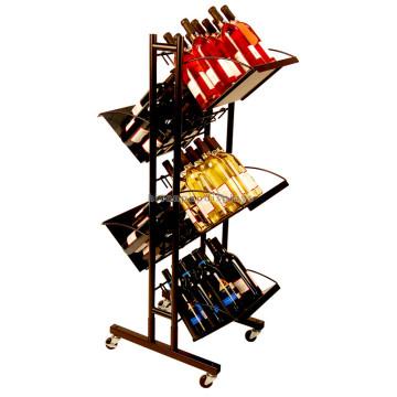Qualität Freie stehende Wein-Speicher-Einheiten mit Rädern 2-Wege-Metall Eisen Haning Wein Display Rack