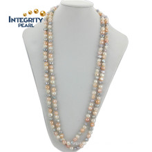 AA 10mm Baroque Mixed Color Long Flat Freshwater Pearl Necklace