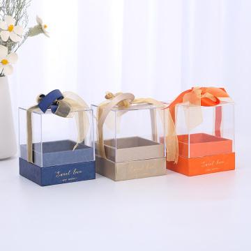 Квадратная картонная упаковка для свечей с прозрачной крышкой