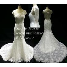 Vestido de noiva com estilo novo vintage de manga curta Vestido de noiva com renda de sereia BYB-14570