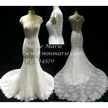 Новый стиль Vintage коротким рукавом свадебное платье Русалка кружева свадебное платье БЫБ-14570
