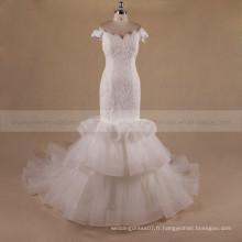 Elegant Mermaid Cap Sleeve Off Shoulder Tiered Chapel Train Ruffle Organza robe de mariée