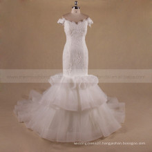 Elegant Mermaid Cap Sleeve Off Shoulder Tiered Chapel Train Ruffle Organza wedding dress
