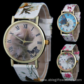New Fashion Girls Flower Leather Cartoon Quartz Watch