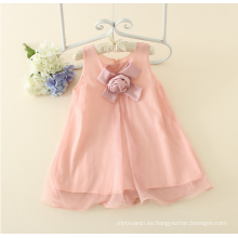 Appliqued girl one piece Dress baby girl s Charming $ 5 pink Summer algodón sin mangas floral Vestido de niña informal Baby on-sale