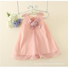 Appliqued girl one piece Robe bébé fille s Charme $ 5 rose été coton sans manches Floral Casual Girls 'robe bébé en vente