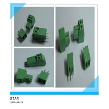 Connecteur de bornier à vis de type enfichable vert de Pin / d'angle de 3.5mm d'angle 2