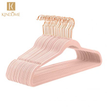 Factory wholesale promotion price personalized non-slip velvet flocked coat suit hangers with rose gold hook