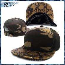 Hot selling snakeskin leather Snapback cap China custom Snapback hat with low price