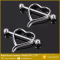 Surgical Steel Hollow Heart Breast Nipple Barbell Rings Piercing Body Jewelry