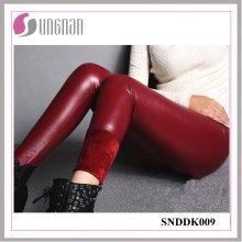 2015 mode PU cuir taille haute pantalons épaississement leggings en molleton