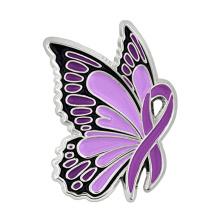 Custom Zinc alloy Metal soft enamel Purple Butterfly lapel pin