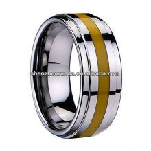 Nuevo producto 2014 Anillo de tungsteno Anillo con incrustaciones de resina amarilla Fabricante, surtidor y exportador