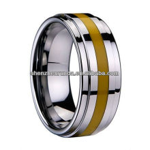 New Product 2014 Tungsten Ring Yellow Resin Inlaid Ring Manufacturer & Supplier & Exporter