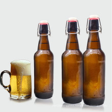 new disign amber color glass beer bottle with swing top