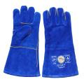 Blue Heavey Duty Cowhide Split Leder Schweißen Handschuhe mit Kevlar Thread