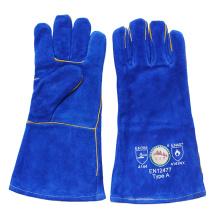 Guantes de soldadura de cuero azul Heavey Duty Split con hilo de Kevlar