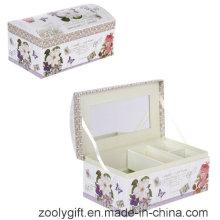 Arco impresso cosméticos dom caixa / papel promocional caixa de música com espelho e bloqueio