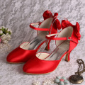 Mid Heels Red Bridesmaid Shoes dengan Bowtie