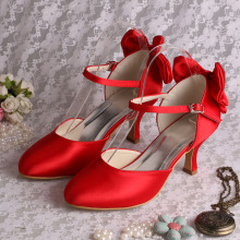 Mid Heels Red Bridesmaid Shoes met Bowtie