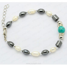 semi precious stone hematite bracelet
