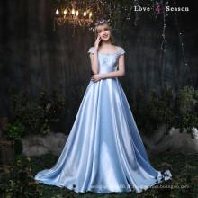 XXLF174 mangas com cinto vestido de cetim azul 2017 vestidos de baile de formatura