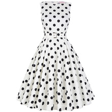 Belle Poque Stock mangas 37 patrones de algodón Big Black Dot vestido blanco vintage 50s BP000002-36