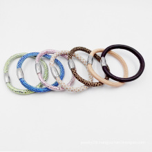 Factory Wholesale Genuine Leather Bracelet with Magnet Stainless Steel Clasp