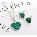 Fashion Malachite Heart Shape Wedding Jewelry Set