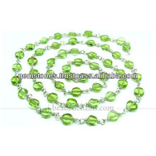 Argent sterling 925 Belle monture lisse Paridot Chaîne perlée, bijoux pierres précieuses