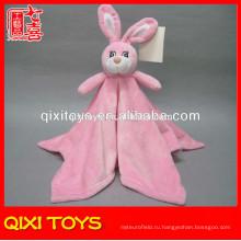 Горячая продажа розовый плюшевые детское одеяло с плюшевые кролик игрушка