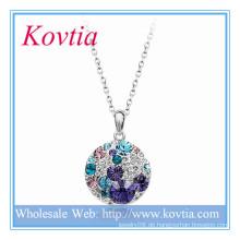 Art und Weise weißes Gold überzogene Legierung große Scheibe blaue Kristall-hängende Halskette